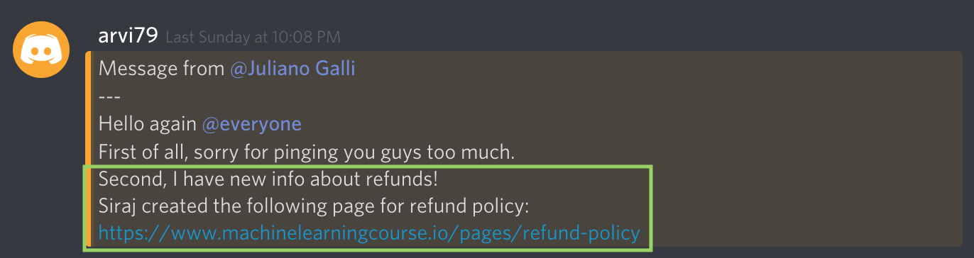 A message that piqued my suspicions posted on the official Discord after many people began asking for refunds.